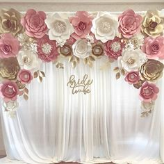 """Blush gold paper flower backdrop for engagement, bridal shower """"bride to be"""" sign paper flower backdrops, paper flowers, pink and gold, baby shower flowers beautiful look real 🌸🌺🌸🌺🌹 Trendy Wedding, Diy Wedding, Wedding Flowers, Wedding Table, Wedding Cakes, Wedding Flower Backdrop, Wedding Signs, Gold Wedding, Wedding Ideas"""