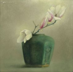 Pieter Knorr Ginger Jars, Cut Flowers, Exhibitions, Old And New, Flower Art, Still Life, Magnolia, Vibrant, Plate