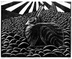 Howard Towll - Winter Hare on Sandness Hill - linocut