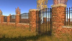 Wall, brick wall with wrought iron gate and wrought iron fence