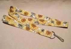 Sunflowers 3 white  handmade fabric lanyard  by doodlebugquilts (Accessories, Lanyard, Id, keychain, id, fabric, handmade, women, colorful, summer, sunflower, gold, brown, flower, white)