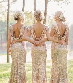 Click to go to product site. Buy wholesale white bridesmaid dress,wine bridesmaid dresses along with yellow bridesmaids dresses on DHgate.com and the particular good one- 2015 champagne sheath bridesmaid dresses bling sequins spring jewel short sleeve cowl custom made floor length cheap sexy party evening gown is recommended by arrowma at a discount.