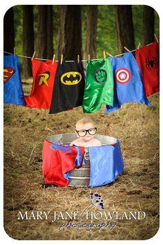 Super Hero Photo shoot, Super Hero Doing Laundry, Baby Super Hero, Child Photography, Baby Photography,