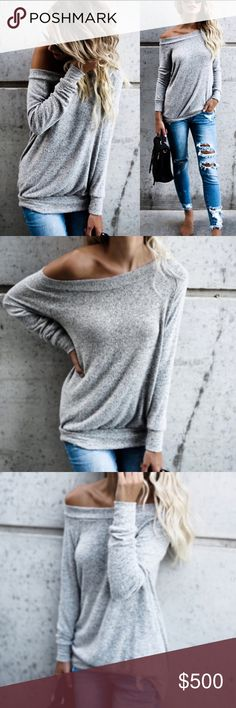 🌟🌟🌟 Off the shoulder top🌟🌟🌟 Super cute off the shoulder sweat shirt Sweaters Crew & Scoop Necks