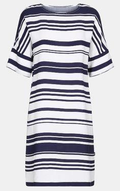 Crepe viscose white/navy block stripe - Stoff & Stil - Cute DIY dress in crepe viscose!