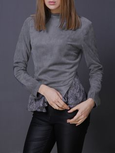 #AdoreWe #StyleWe Tops - JASICO Two Piece Stand Collar Long Sleeve Casual Lace Paneled Long Sleeved Top - AdoreWe.net
