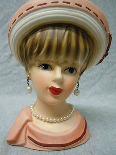 Vintage Relpo Peach & Brown K 1664, Pearls & Necklace Lady Head Vase ...