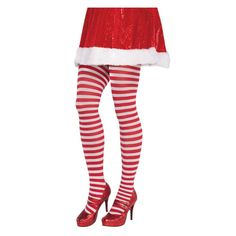 d353cc6a20ba1 Amscan Adult Plus Striped Christmas Red and White Tights (2-Pack)-398950 -  The Home Depot