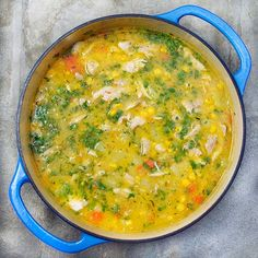 Colombian Chicken Soup with potatoes, corn, carrots and tender shredded chicken via @panningtheglobe