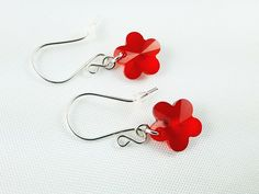 Girl's Jewelry, Earrings for Girl, Sterling Silver Earrings, Crystal Earrings, Christmas Gift for Girl, Gift Ready to Ship, Red Flowers by modotikon on Etsy