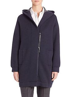 Brunello Cucinelli Double Faced Cashmere Hooded Cardigan