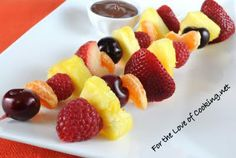Fruit Kebabs with Melted Chocolate ( Source: http://www.fortheloveofcooking.net/2011/06/fruit-kebabs-with-melted-chocolate.html# )