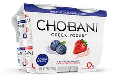 Chobani Snack Cups in four flavors. Available at most major supermarkets.
