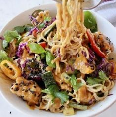 Easy vegan peanut noodles recipe with vegetables, ramen, air fried tofu and sesame seeds in a vegan peanut sauce Loaded with lime, cilantro and fresh basil. Ramen Noodle Recipes, Soup Recipes, Vegan Recipes, Noodle Soup, Rice Soup, Tofu Noodles, Peanut Noodles, Veggie Fries, Veggie Stir Fry