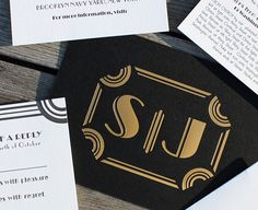 Susan and Jason: art deco / Gatsby-inspired wedding invitation with cinematic design printed in gold foil on black stock and letterpress on accompanying pieces Something Borrowed, Something Old, Deco Wedding Invitations, Great Scott, Chocolate Party, Art Deco Wedding, Event Ideas, Our Love, Gold Foil