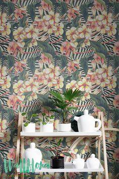 Hibiscus and Zebra Background Print Wallpaper | Removable Wallpaper | Zebra Wall Sticker | Hibiscus and Zebra Self Adhesive Wallpaper
