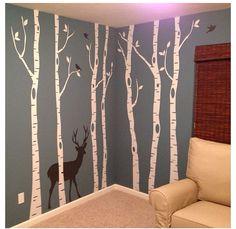 Birch and deer wall decals