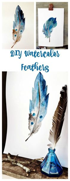 DIY Watercolor Feather - Easy, fun and relaxing to do. Create watercolor painting for your home decor. 2 Bees in a Pod Watercolor Feather, Feather Painting, Watercolour Painting, Painting & Drawing, Watercolors, Feather Art, Encaustic Painting, Painting Flowers, Watercolor Pencils