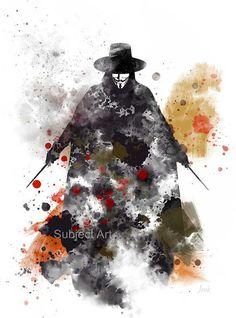 V for Vendetta ART PRINT illustration Film Movie Anonymous
