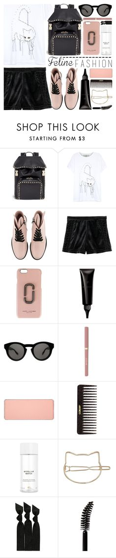 """cat tee"" by foundlostme ❤ liked on Polyvore featuring Valentino, STELLA McCARTNEY, Minna Parikka, Marc Jacobs, Filorga, Givenchy, shu uemura, Conair, H&M and Emi-Jay"