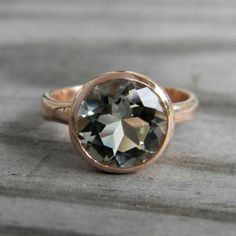 14k Rose Gold with Prasiolite Green Amethyst Gemstone Solitaire Ring