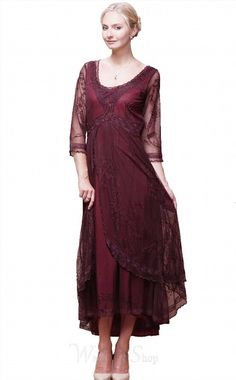 284.00$  Buy here - http://viakp.justgood.pw/vig/item.php?t=bxh5glr55439 - Nataya Romantic Downton Abbey Tulle Embroidery Dress
