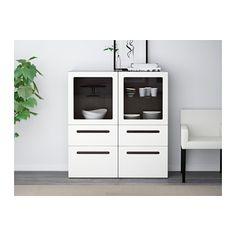 BESTÅ Storage combination w/glass doors - black-brown/Marviken white clear glass, drawer runner, soft-closing - IKEA