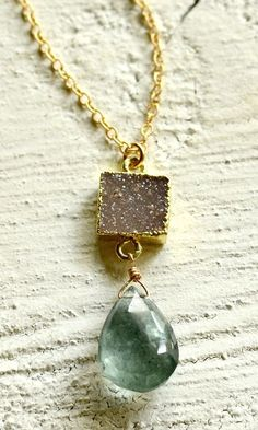 Druzy necklace, March birthstone, aquamarine jewelry, moss aquamarine necklace blue stone necklace druzy jewelry Kopa'a Mossy