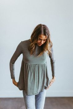 I wore a striped long sleeve peplum like this for about 3 years, but it's all ratty now. I'd love to resurrect it in with a work appropriate piece for the winter!