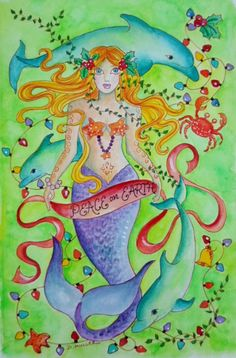Mermaid and Dolphins ChRisTmAs Card in Watercolor by ChubbyMermaid, $2.99