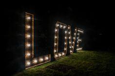 The Hire Supplier Illuminated 'LOVE' letters Night Glow! Popcorn Stand, Bristol England, Love Letters, United Kingdom, Sidewalk, Glow, Rustic, Lettering, Night