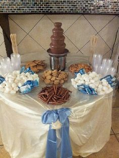 Sweets table with chocolate fountain