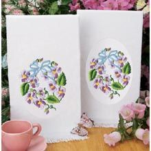 Craftways Pansy Terry Towel Pair Stamped Embroidery Kit
