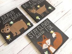 Rustic Nursery Signs - Woodland Animals - Fox Nursery Decor - Nursery Wall Art - Fox Nursery Art - B Baby Deer Nursery, Baby Girl Nursery Themes, Nursery Canvas, Woodland Nursery Decor, Rustic Nursery, Nursery Signs, Nursery Wall Art, Deer Themed Nursery, Art Fox