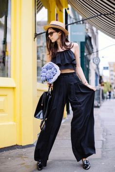 cute crop top with dressy culottes