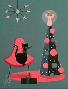 EL GATO GOMEZ PAINTING MID CENTURY MODERN EAMES ERA CAT CHRISTMAS TREE HOLIDAY  | eBay
