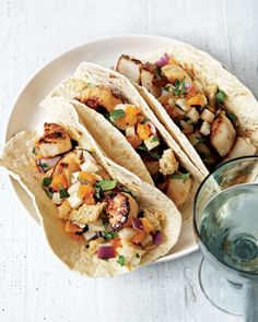 Tacos with Sea Scallops and Jicama-Peanut Slaw Recipe