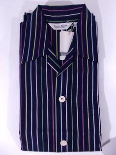 3224ec2e16 NWT DEREK ROSE pigiama uomo APERTO 100 cotone 12 MESI righe REGIMENTAL tg S  M