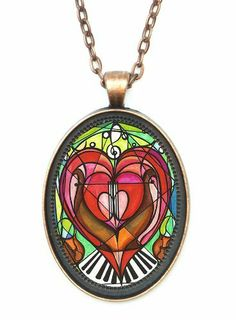 """Eternal Love Song Music Lovers Glass Dome Amulet Talisman Necklace (Antique Copper) Shoushockie Talismans. $14.95. Artwork by Shoushan. Pendant Size is 30x40mm (1.5""""h) Includes 24"""" chain.. Select from 4 different metals: solid black, antique copper, antique silver, or antique gold / bronze. Pendant, with magnifying glass dome over the artwork.. Save 25% Off!"""