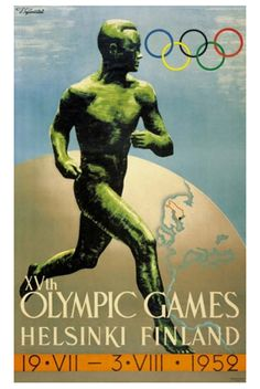 HELSINKI 1952 OLYMPIC SUMMER GAMES Official Poster Reprint - Finland, Scandinavia, Games of the XV Olympiad -Available at www.sportsposterwarehouse.com