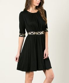 Look what I found on #zulily! Black Butterfly Fit & Flare Dress by Aime Clothing #zulilyfinds