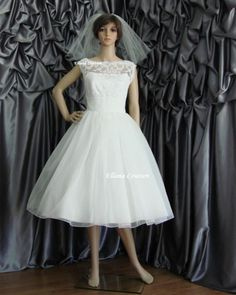 Sandra - Beautiful Vintage Inspired Tea Length Wedding Dress. | EllanaCouture - Wedding on ArtFire