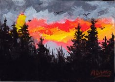 ACEO Mini Painting North Carolina Sunset Pine Tree by PatAdamsArt, $15.99