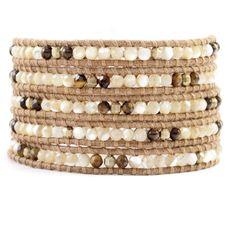 Natural Mix and Gold Bead Wrap Bracelet on Beige Leather