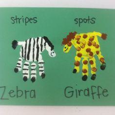 Handprint zebra and giraffe!