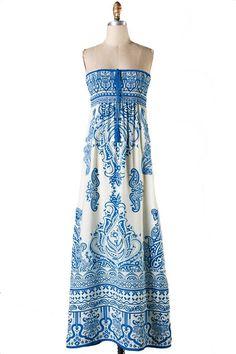 Fine China Scarf Print Strapless Maxi Dress - Blue
