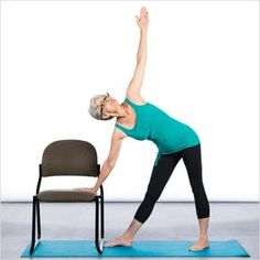 Active seniors who participate in balance training are typically better equipped to react to the demands of daily life and are better able to avoid falls. Yoga is an effective way to train for balance and those who cannot participate in traditional yoga Balance Exercises, Chair Exercises, Yoga Exercises, Exercise Moves, Stretches, Fitness Del Yoga, Senior Fitness, Physical Fitness, Health Fitness