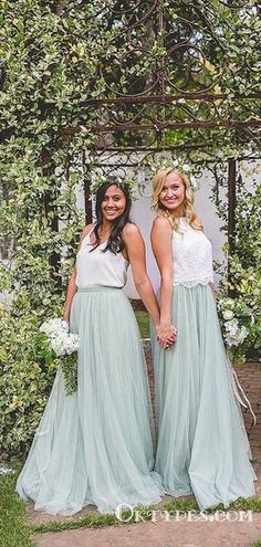 5d78886267 Simple Mismatched A-line Mint Tulle Long Cheap Bridesmaid Dresses