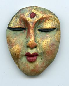 Polymer Clay Buddha Face  Cab  Detailed Multi Metallic  by linsart