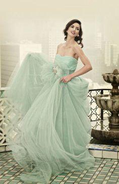 Mint wedding dress--love. @Mandy Dewey Seasons Bridal